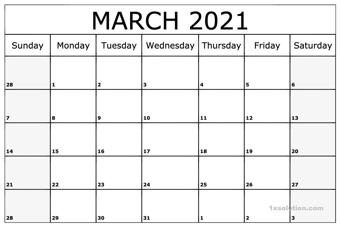 Daily March 2021 Calendar Printable