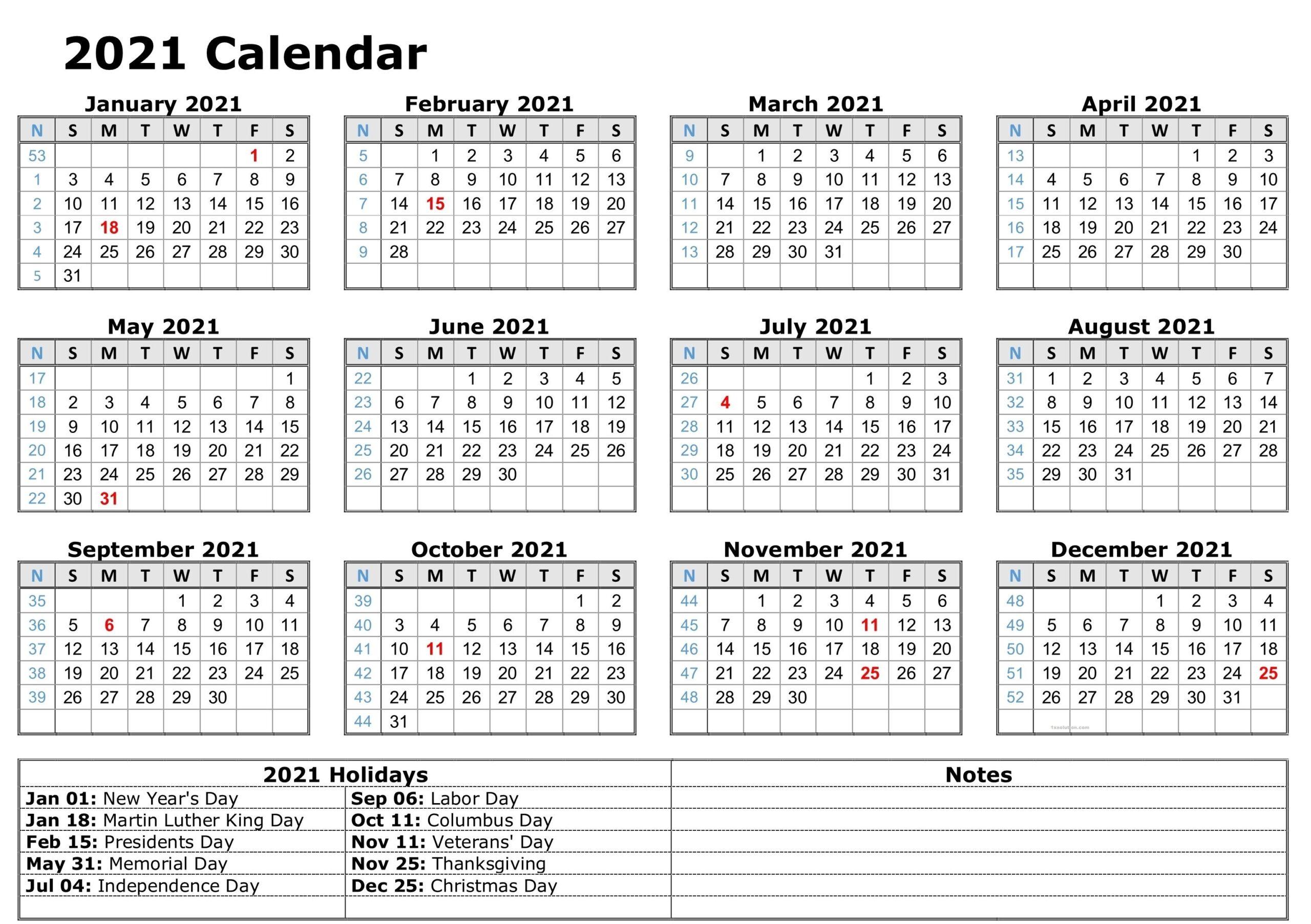 Monthly 2021 Calendar Blank