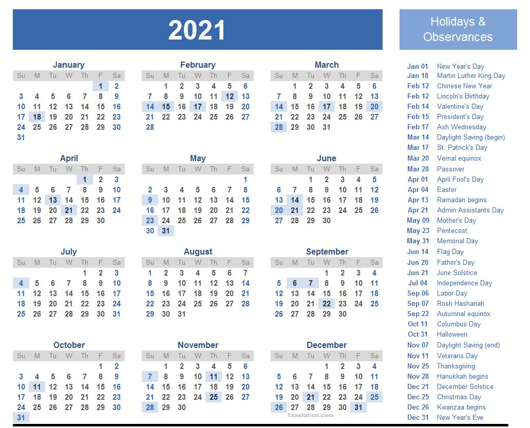 Monthly 2021 Calendar Free