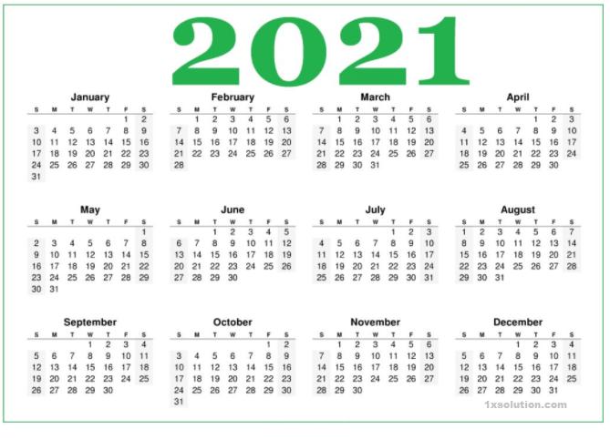 Monthly 2021 Calendar PDF