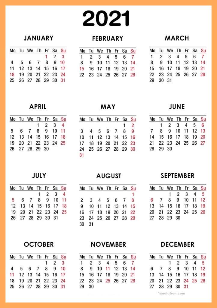 Monthly 2021 Calendar Printable