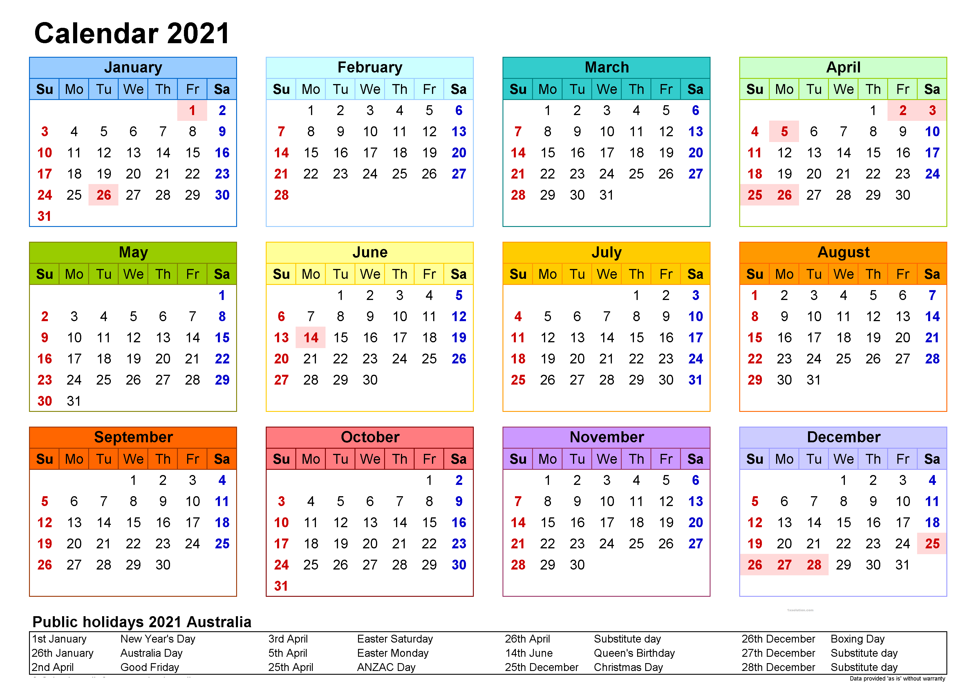 Monthly 2021 Calendar with Holidays