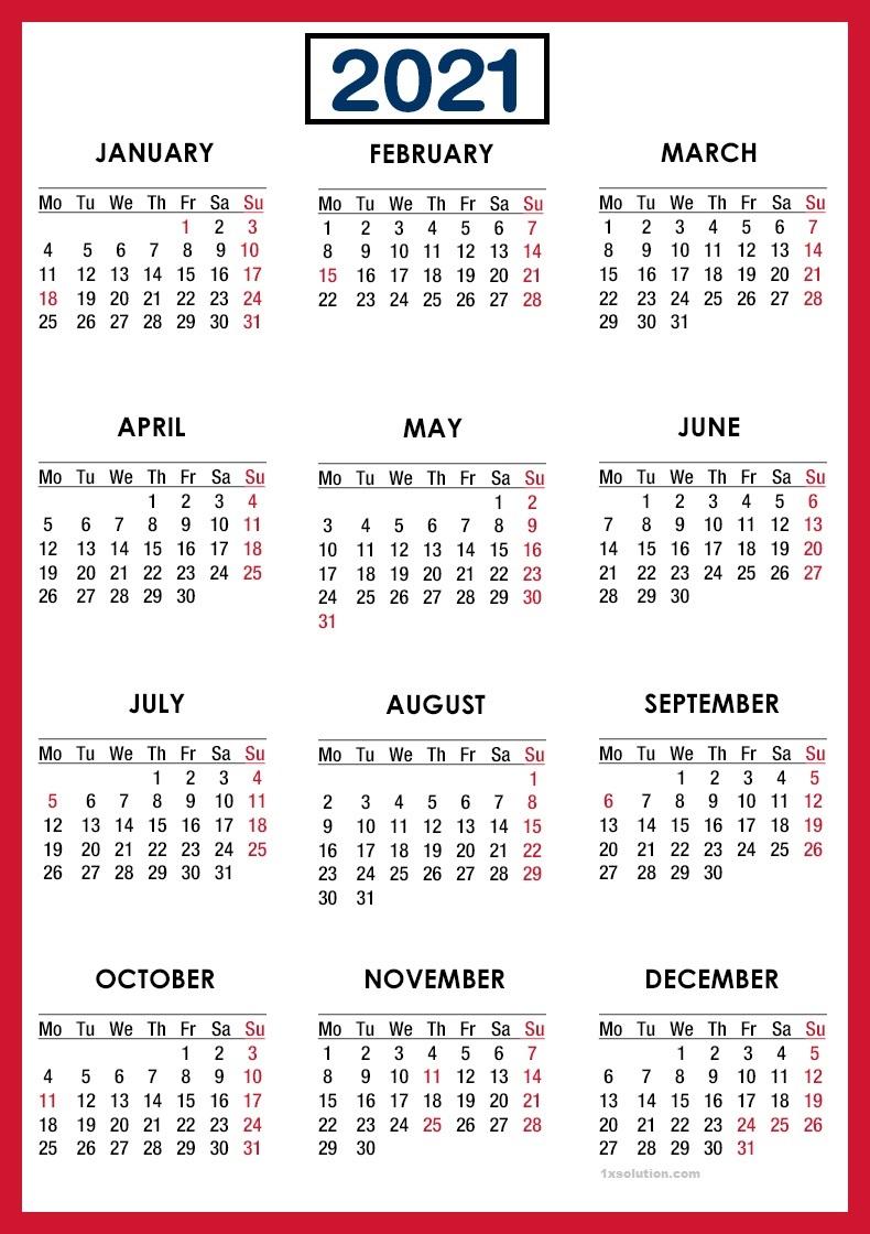 Monthly 2021 Calendar