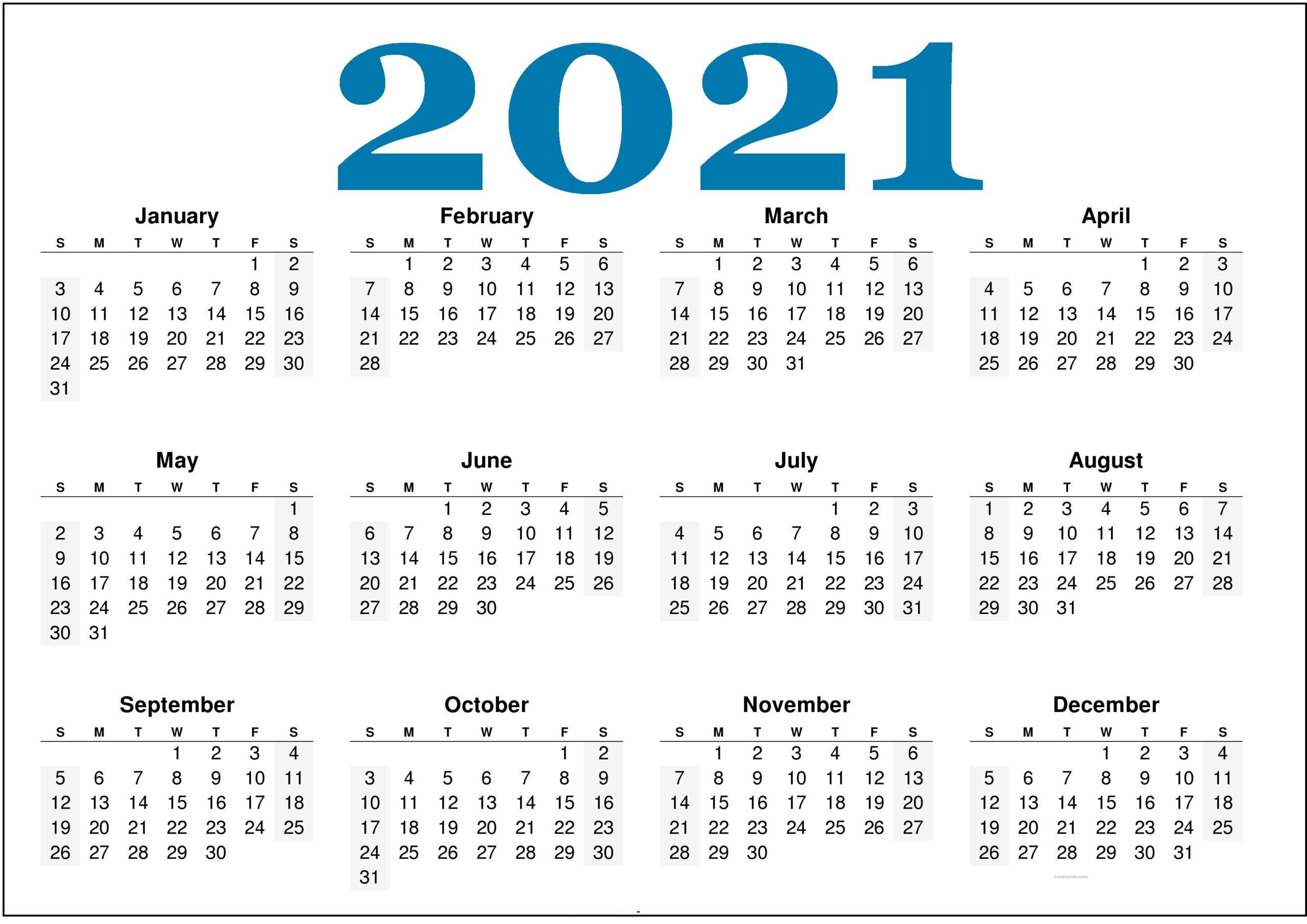 Printable 2021 Calendar Cute