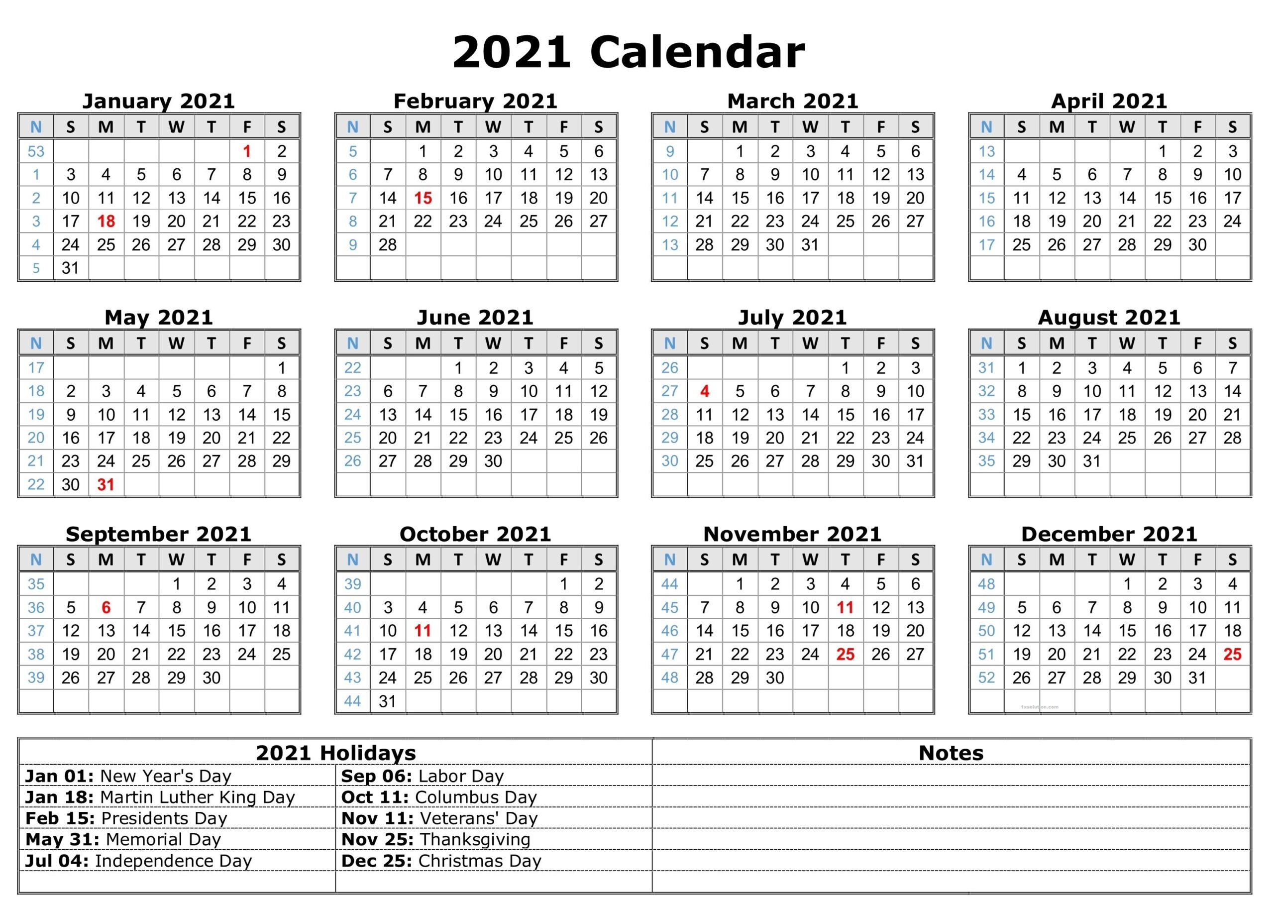 Printable 2021 Calendar Excel