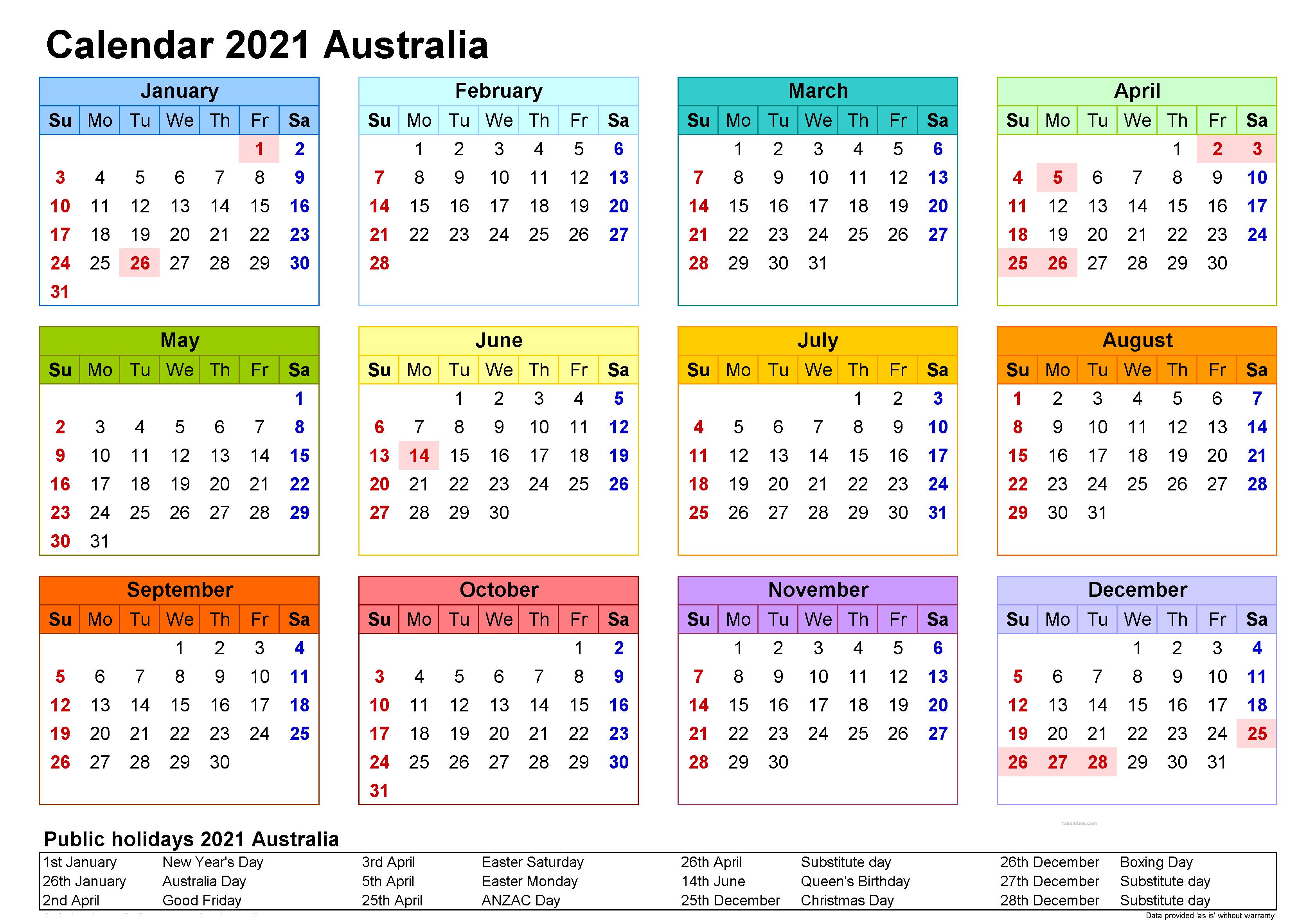 Printable 2021 Calendar Free