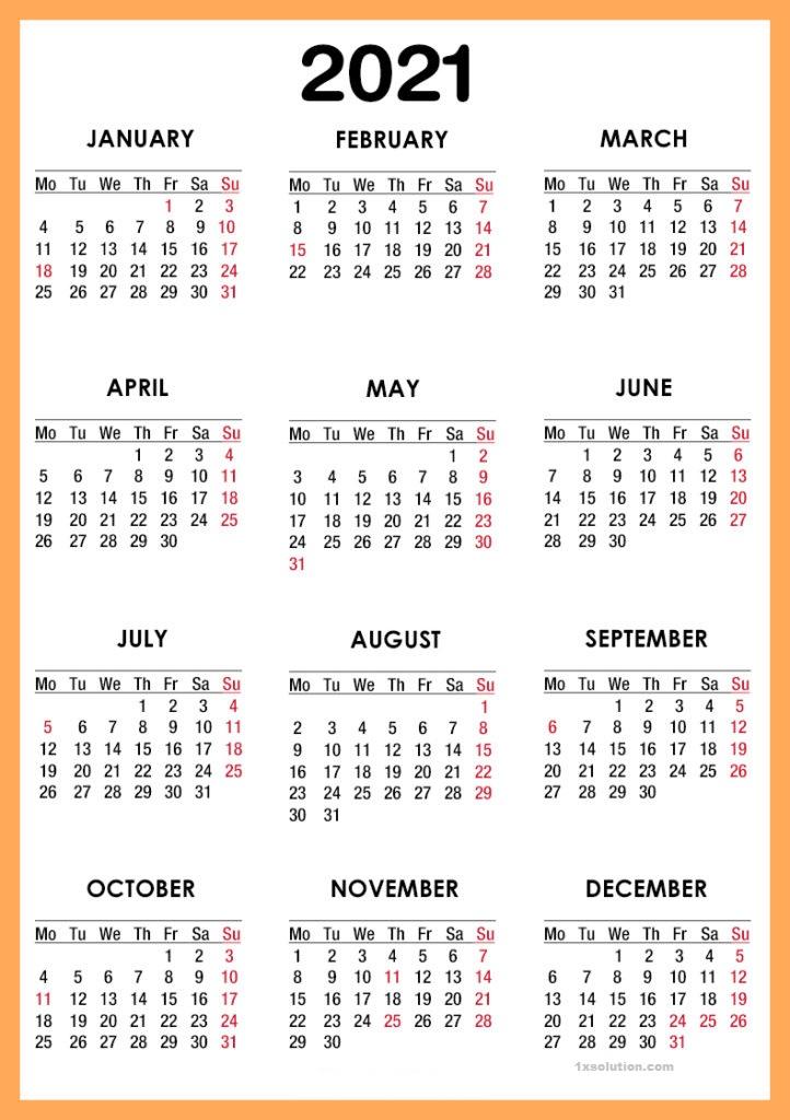 Printable 2021 Calendar Monthly