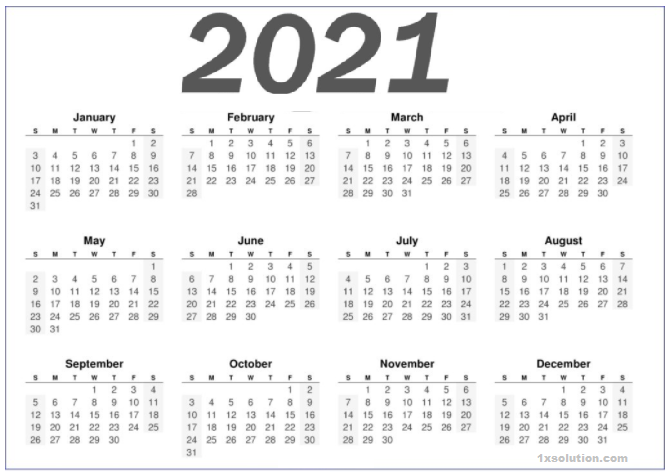 Printable 2021 Calendar Template