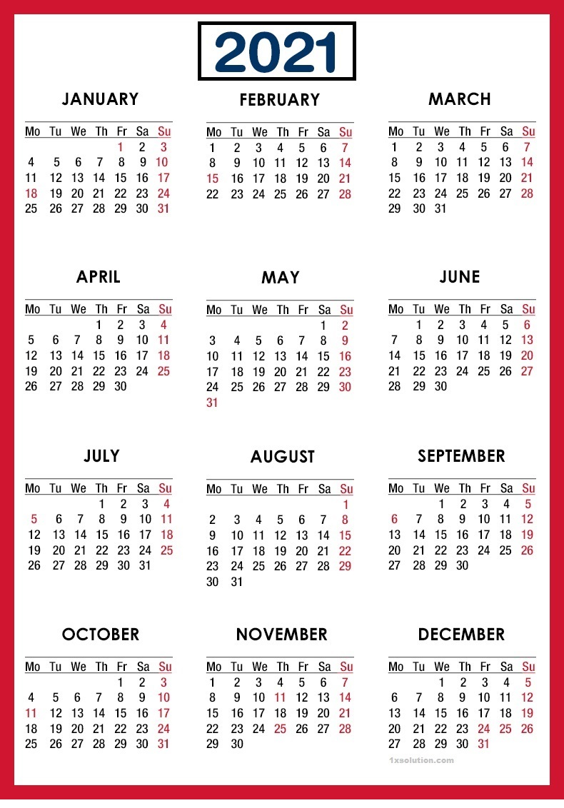 Yearly Calendar 2021 Download