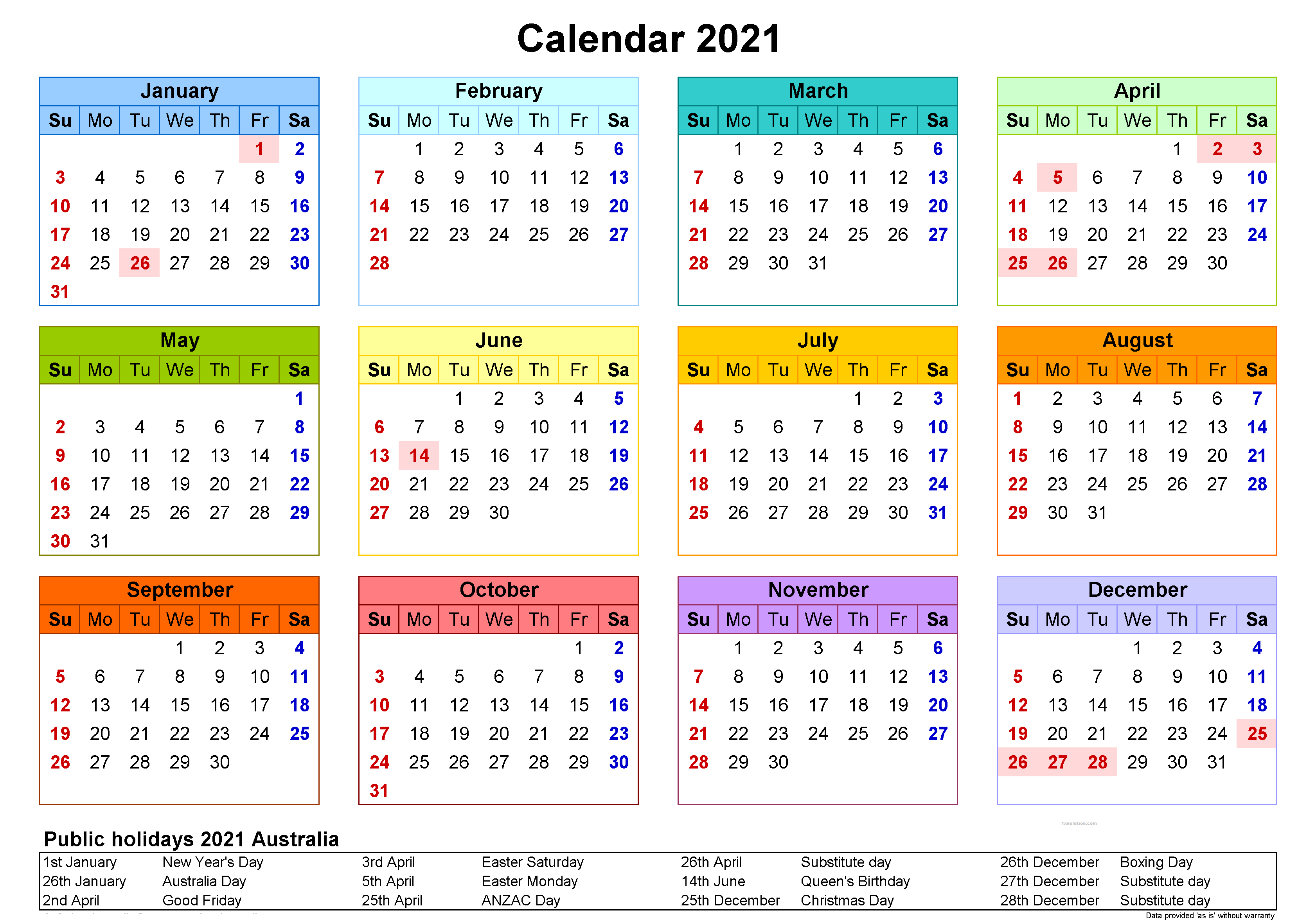 Yearly Calendar 2021 Free