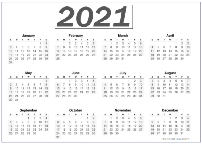 Yearly Calendar 2021 Printable