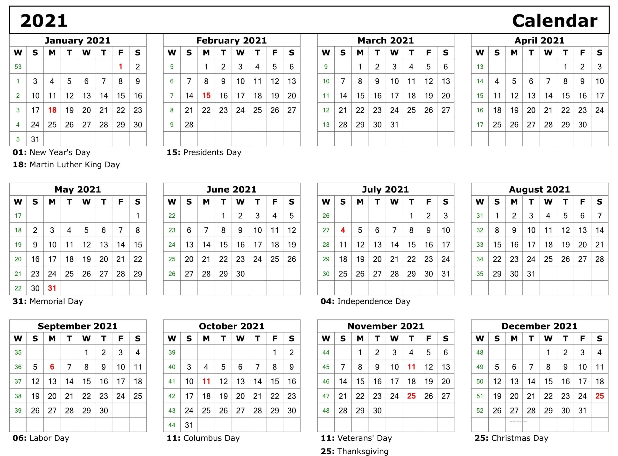 Yearly Calendar 2021 With Holidays