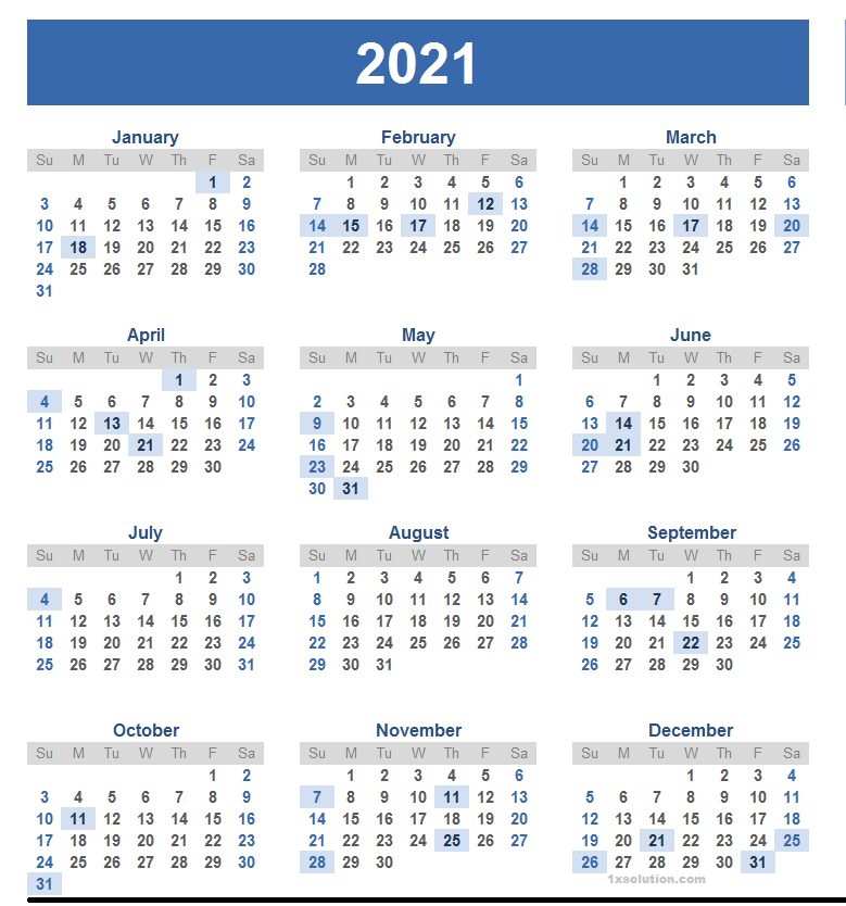 Yearly Calendar 2021 Yearly