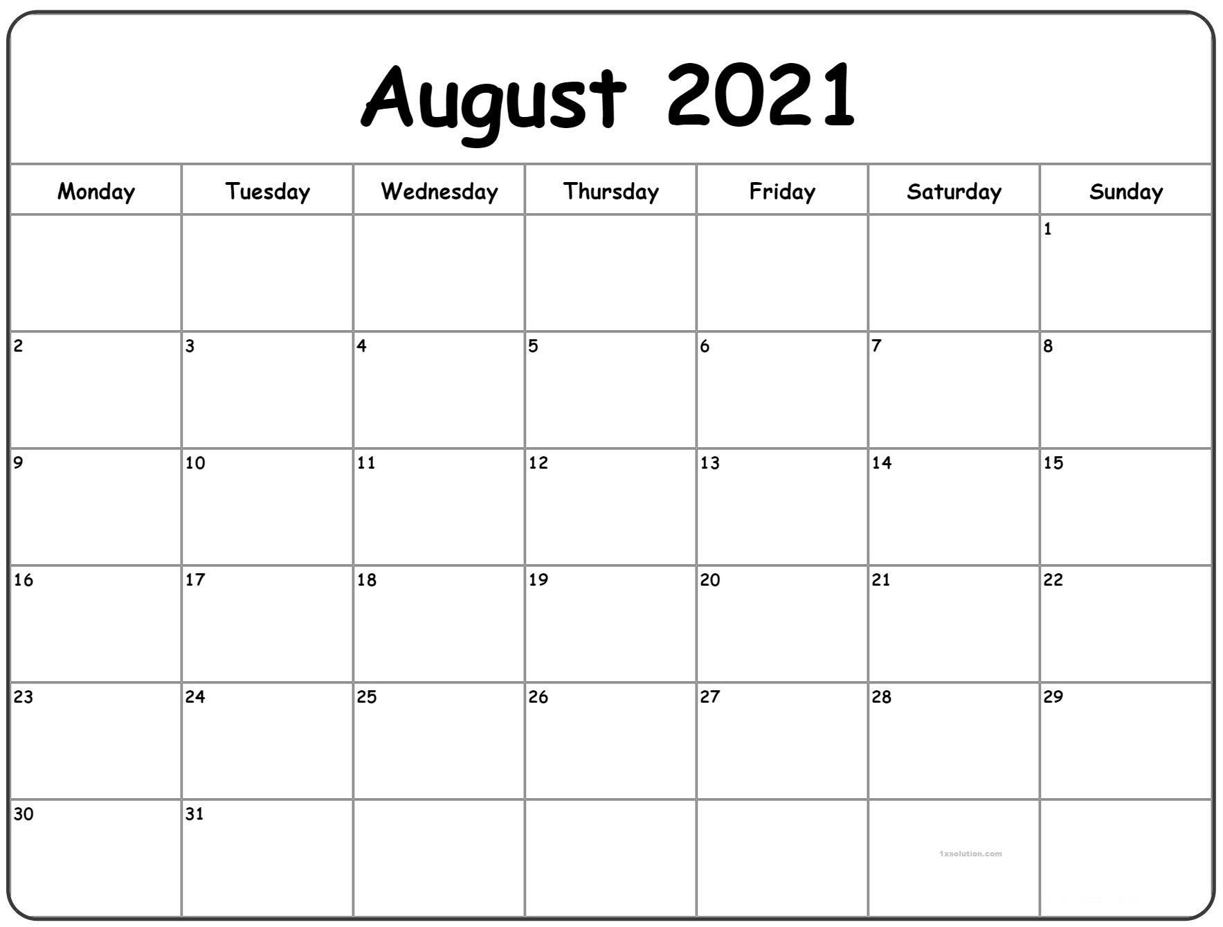 August 2021 Calendar Printable Schedule ExcelSheet | Calendar