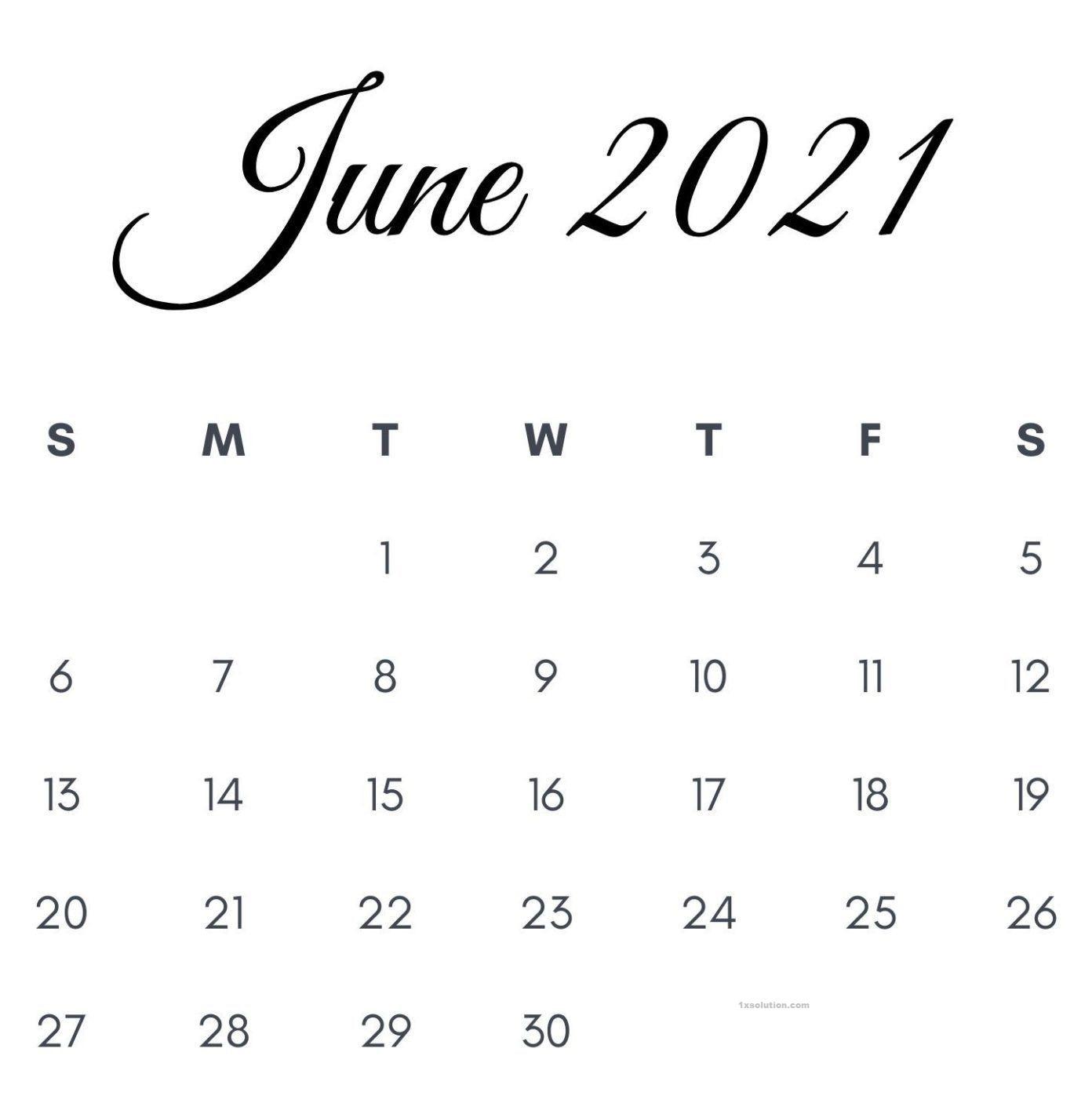 2021 Calendar June