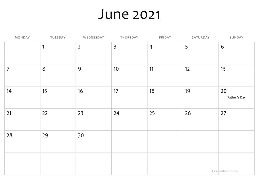 2021 June Calendar