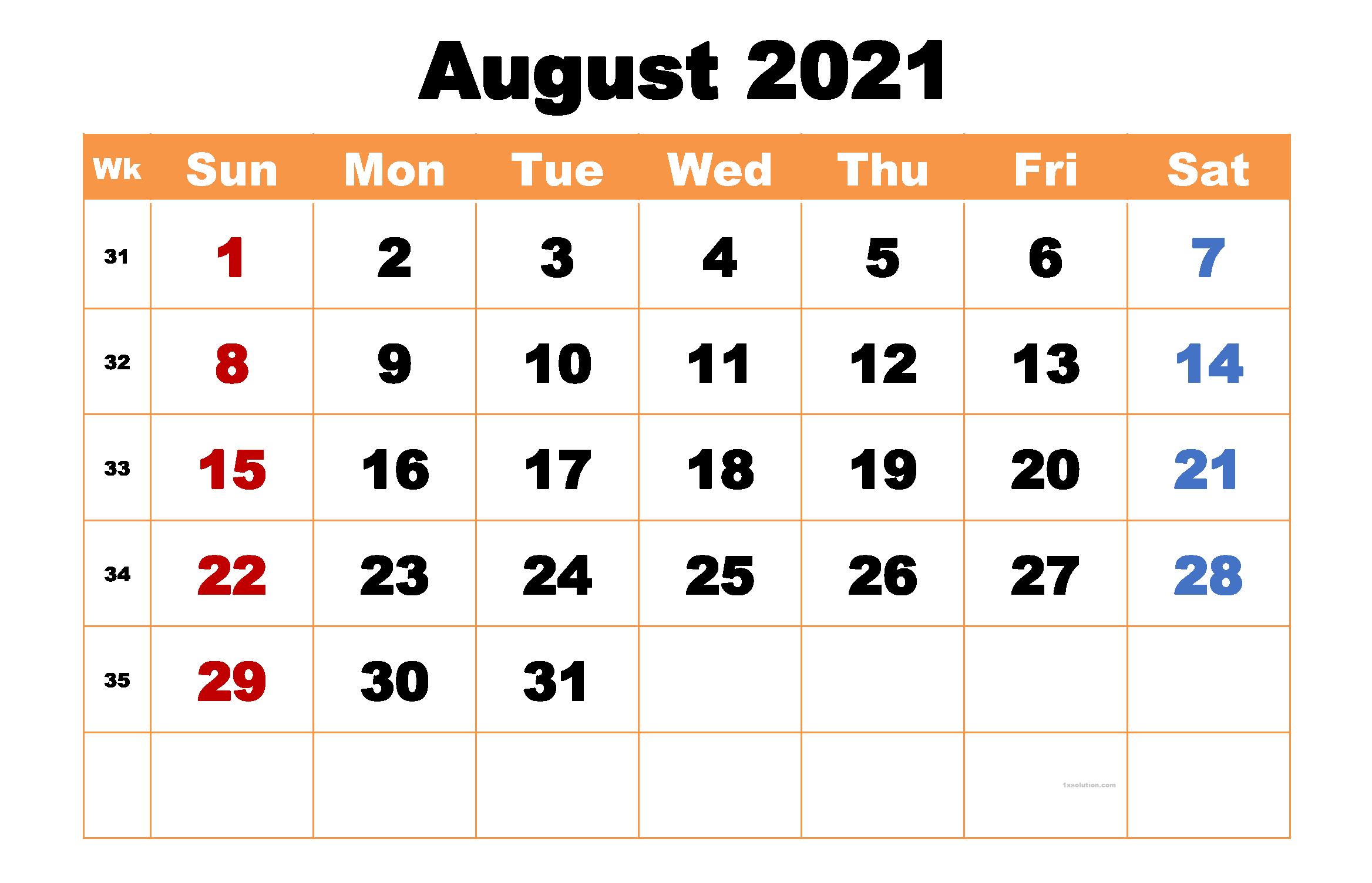 August 2021 Calendar cute