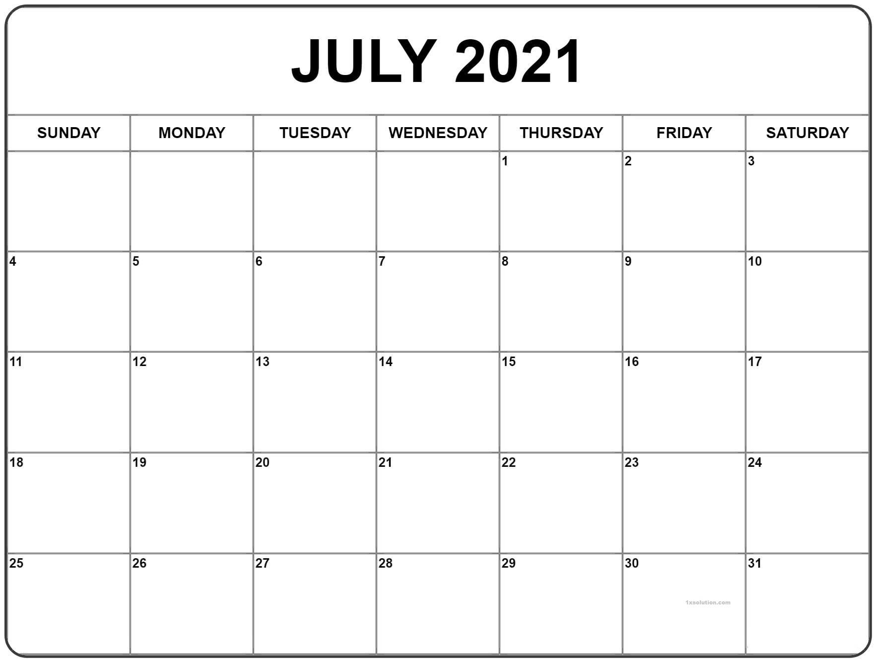 July 2021 Calendar Blank