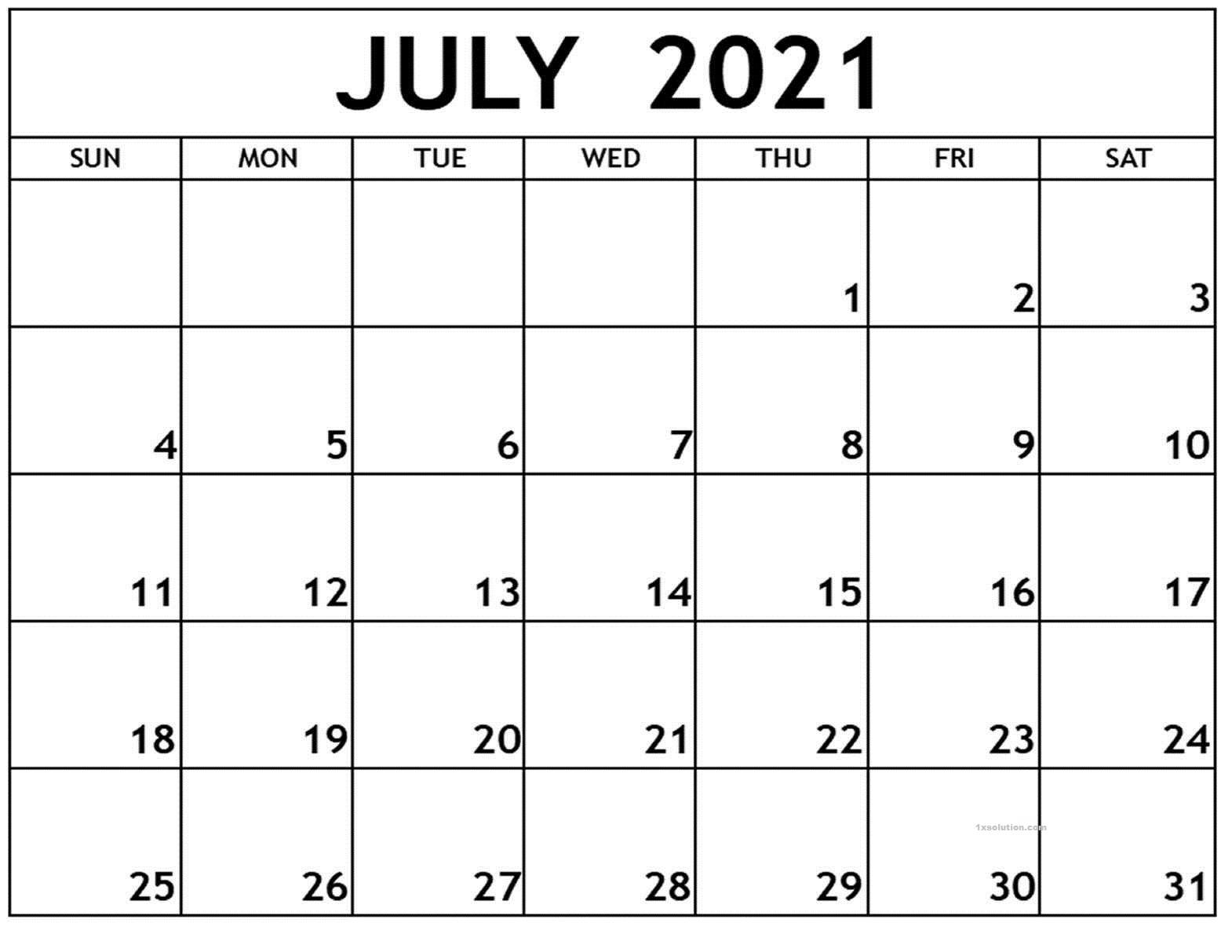 July 2021 Calendar Sheet