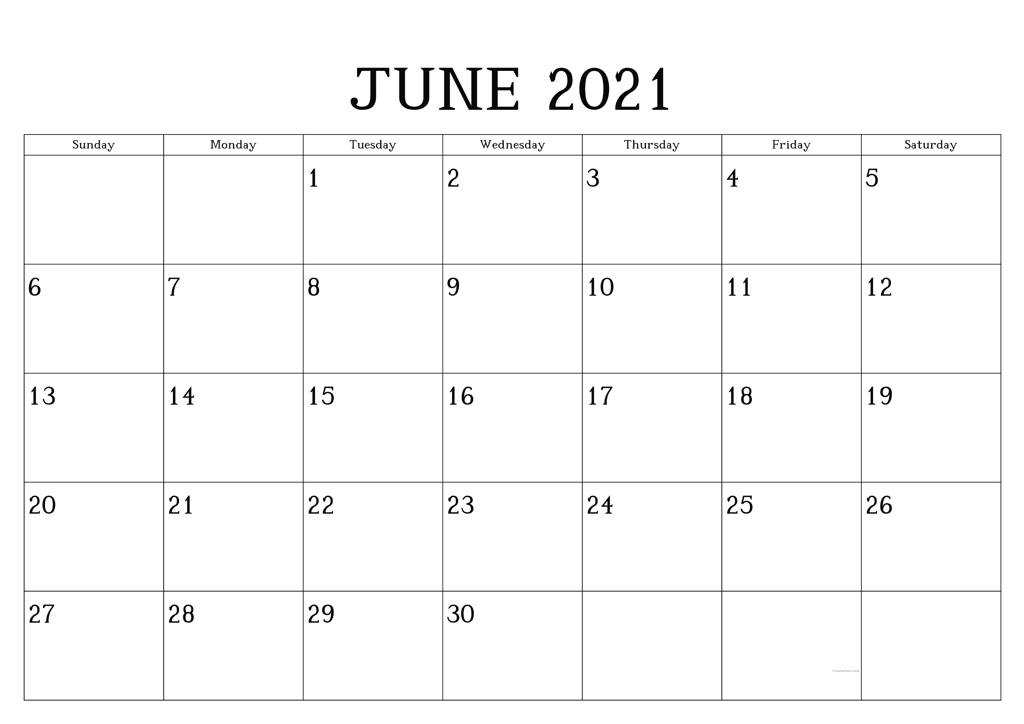 June 2021 Calendar Printable