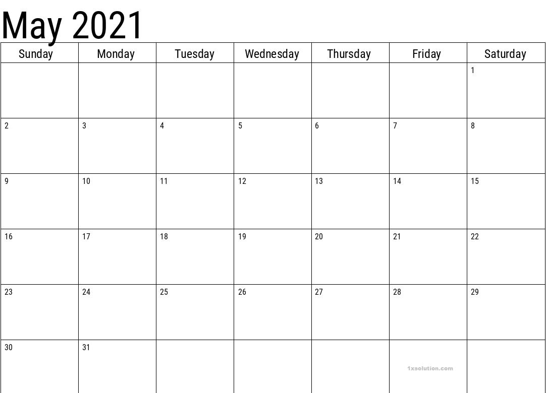 May 2021 Calendar Blank