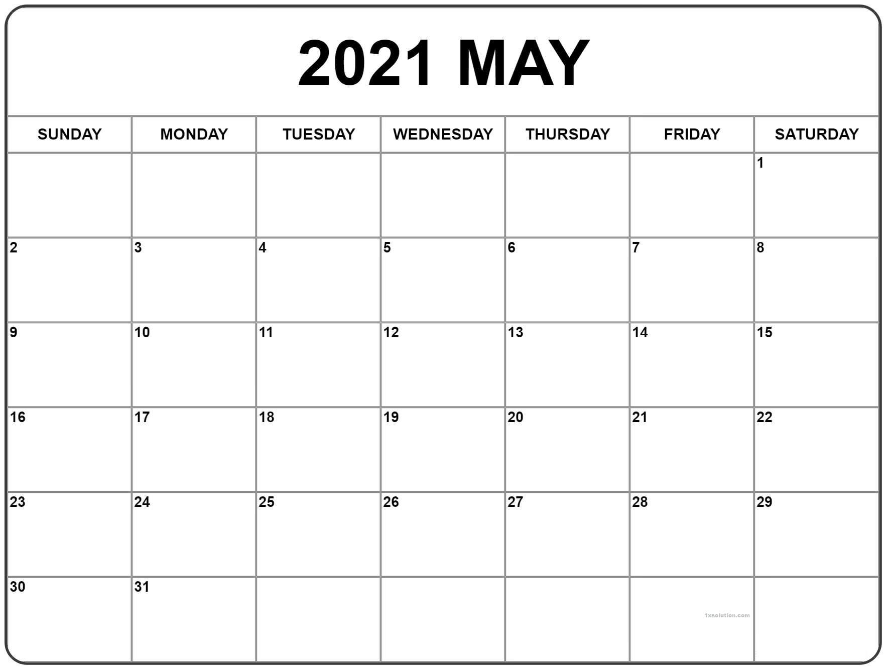 May 2021 Calendar Planner