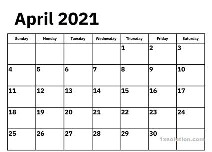 Printable April 2021 Calendar Wod