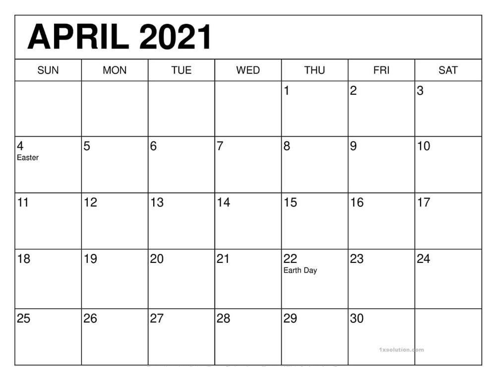 Printable April Calendar 2021