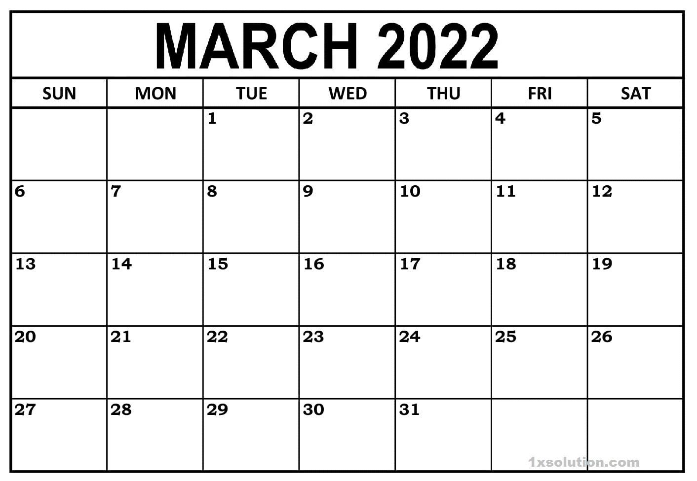 Blank March 2021 Calendar Excel