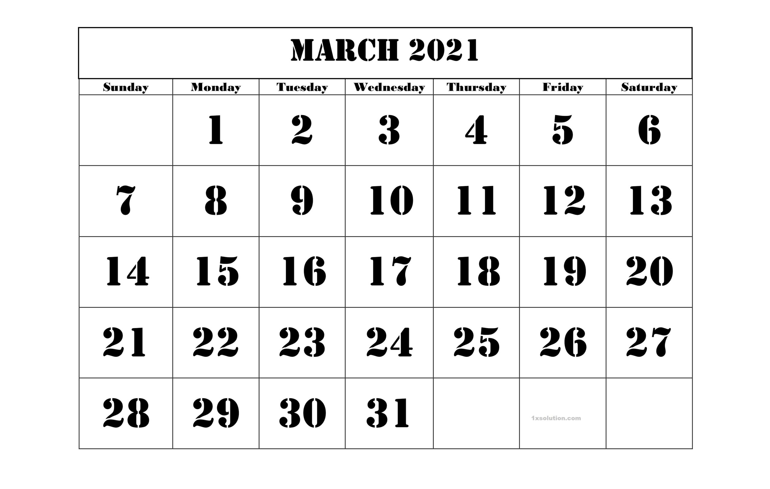 Blank March 2021 Calendar Layout
