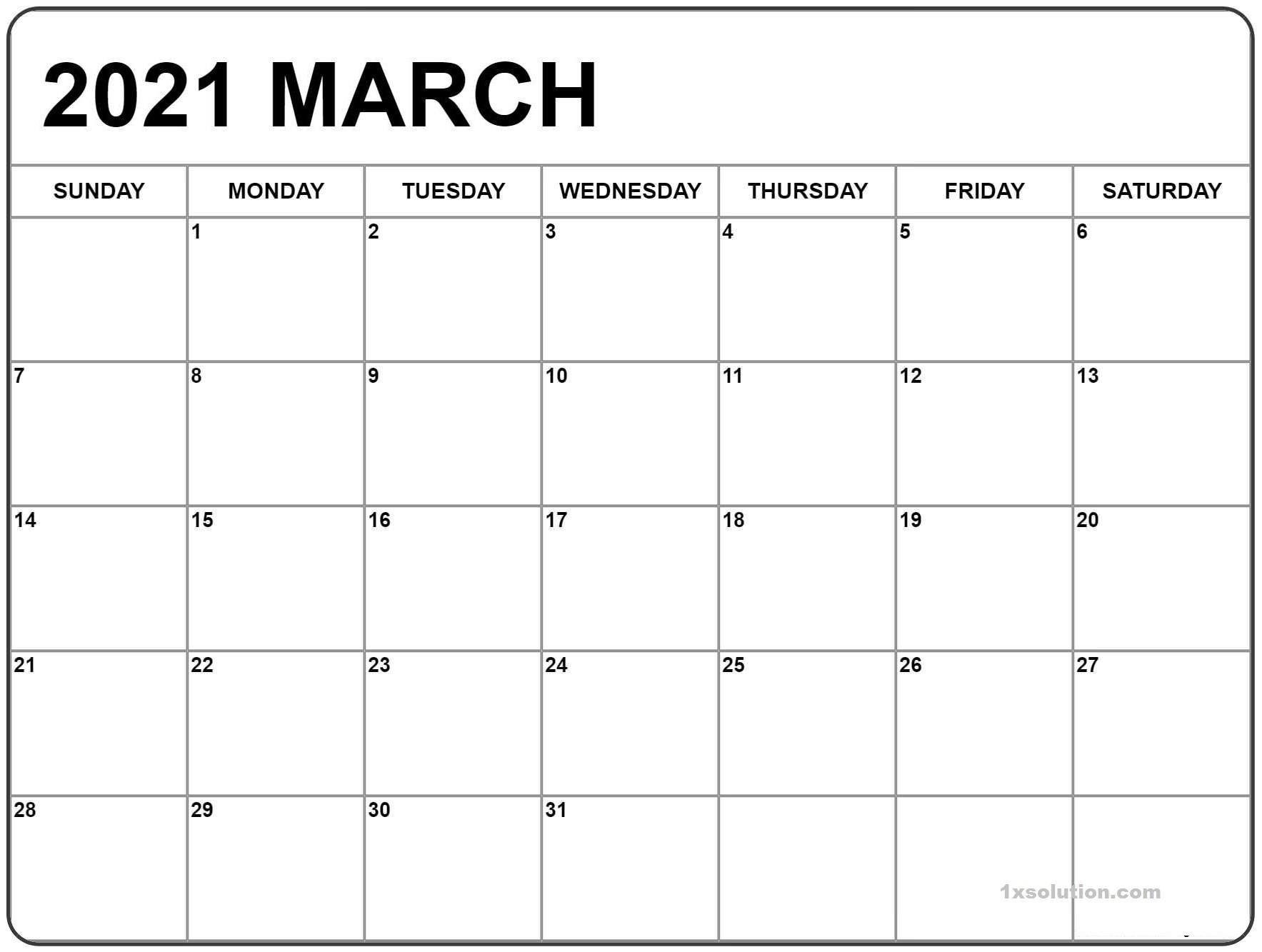 Blank March 2021 Calendar Sheet