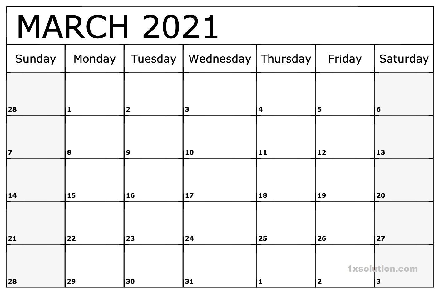Blank March 2021 Calendar Template