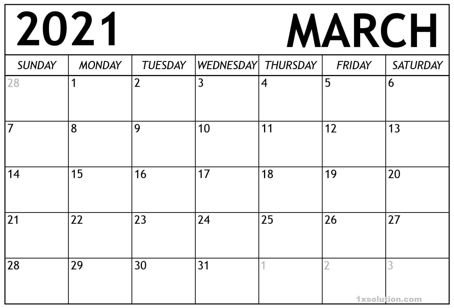 Blank March 2021 calendar Word