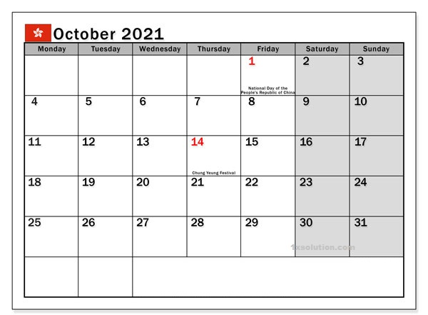 Blank October 2021 Calendar