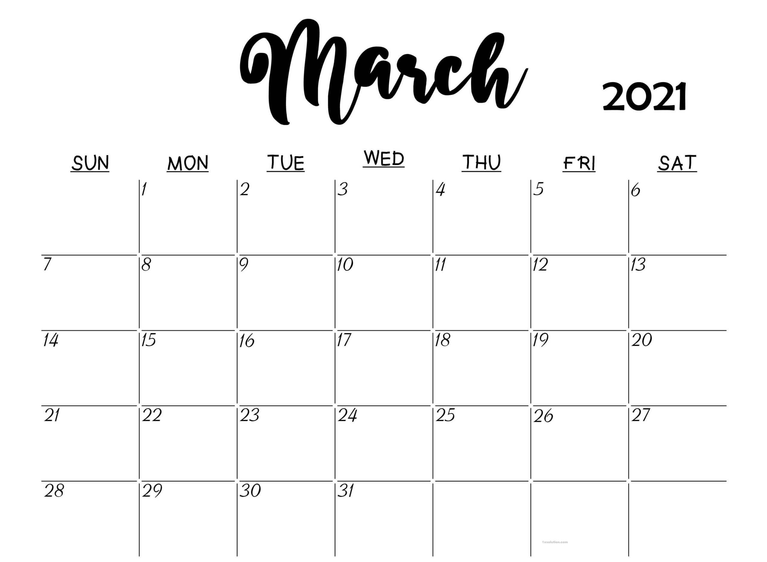 Cute March 2021 Calendar For Office