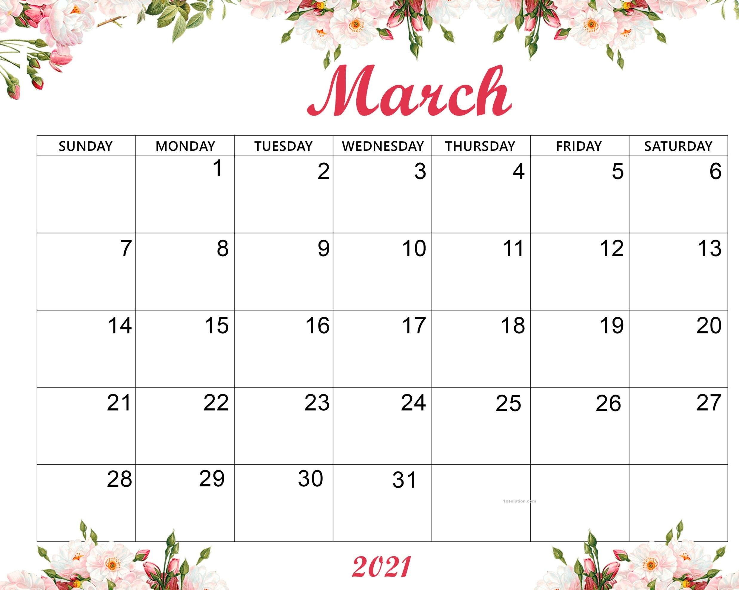 Cute March 2021 Calendar Kids
