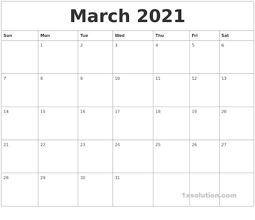 Cute March 2021 Calendar PDF