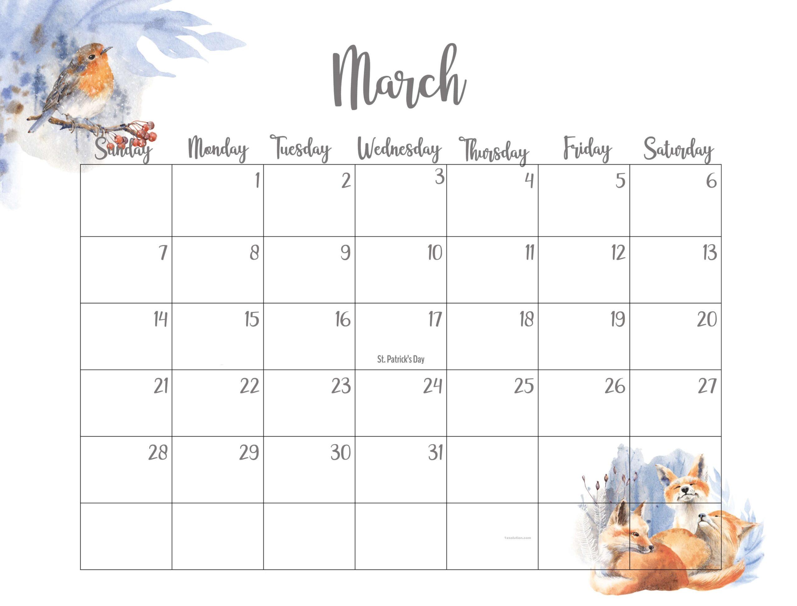 Cute March 2021 Calendar Sheet