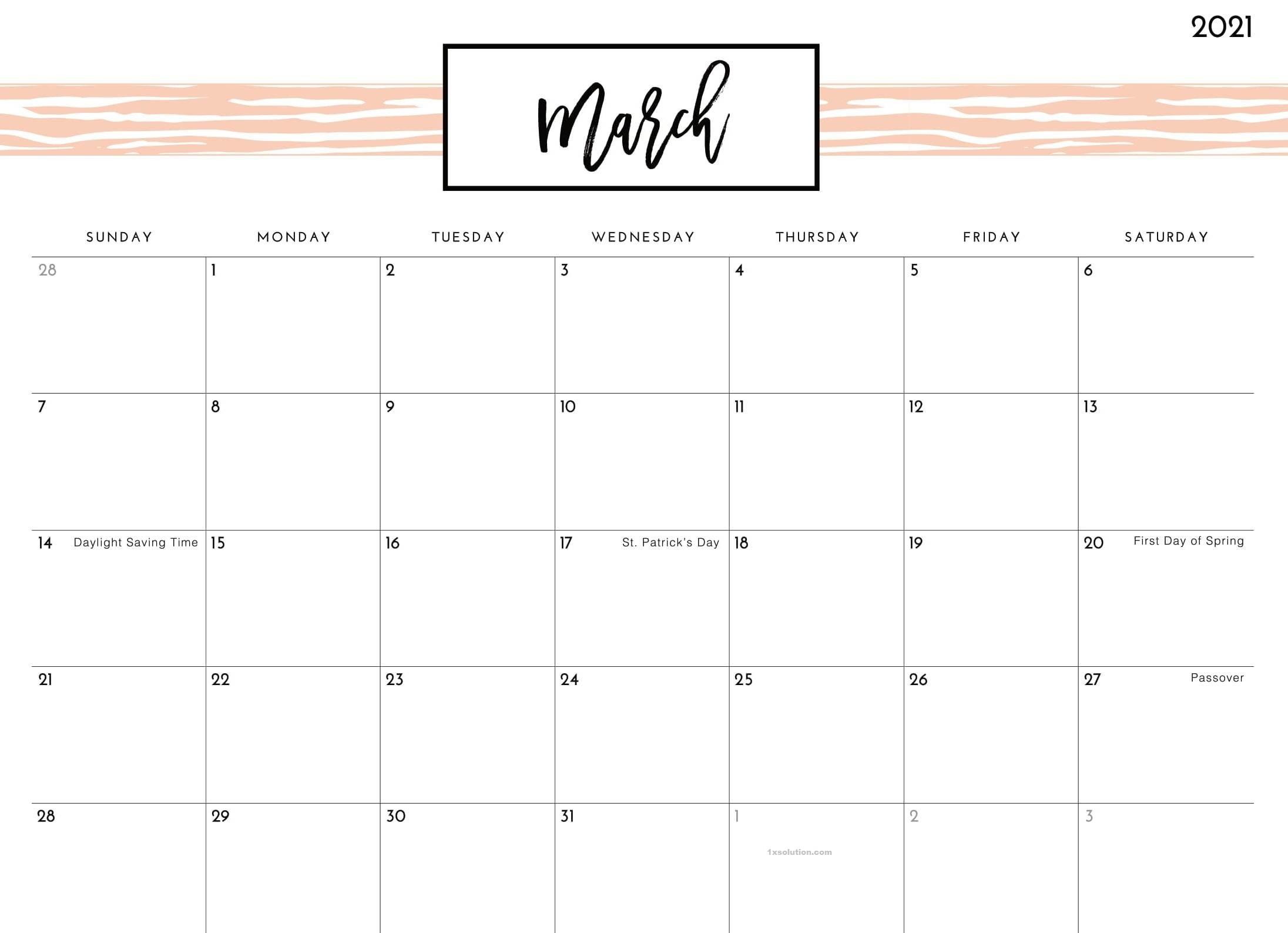 Cute March 2021 Calendar with holidays
