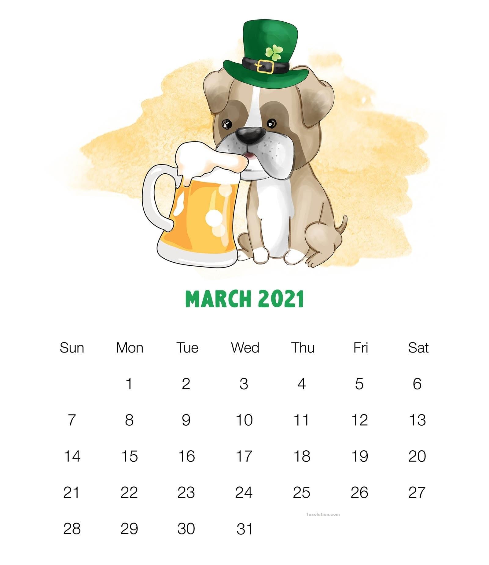 Cute March 2021 Calendar