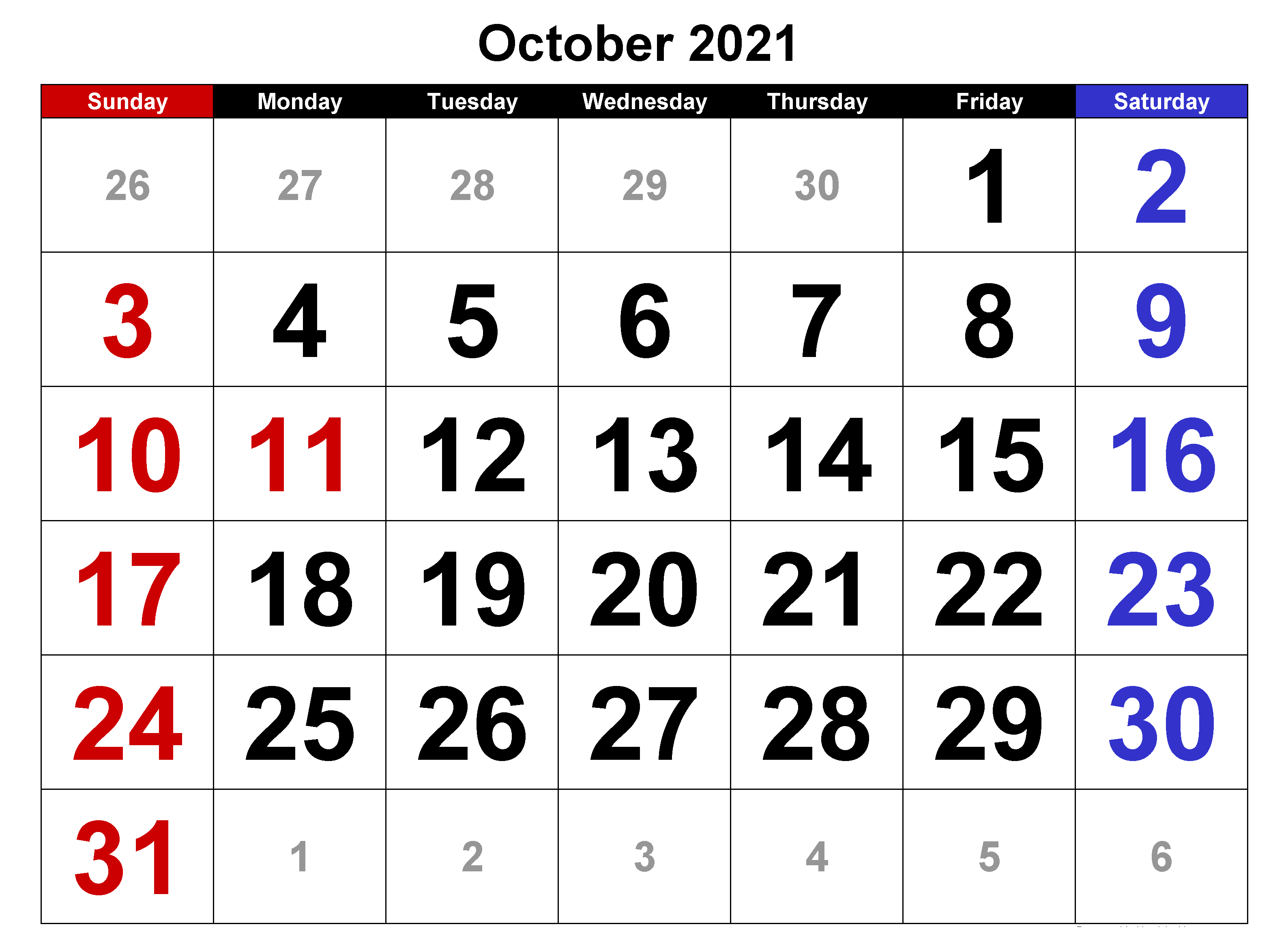 Cute October 2021 Calendar With Holidays