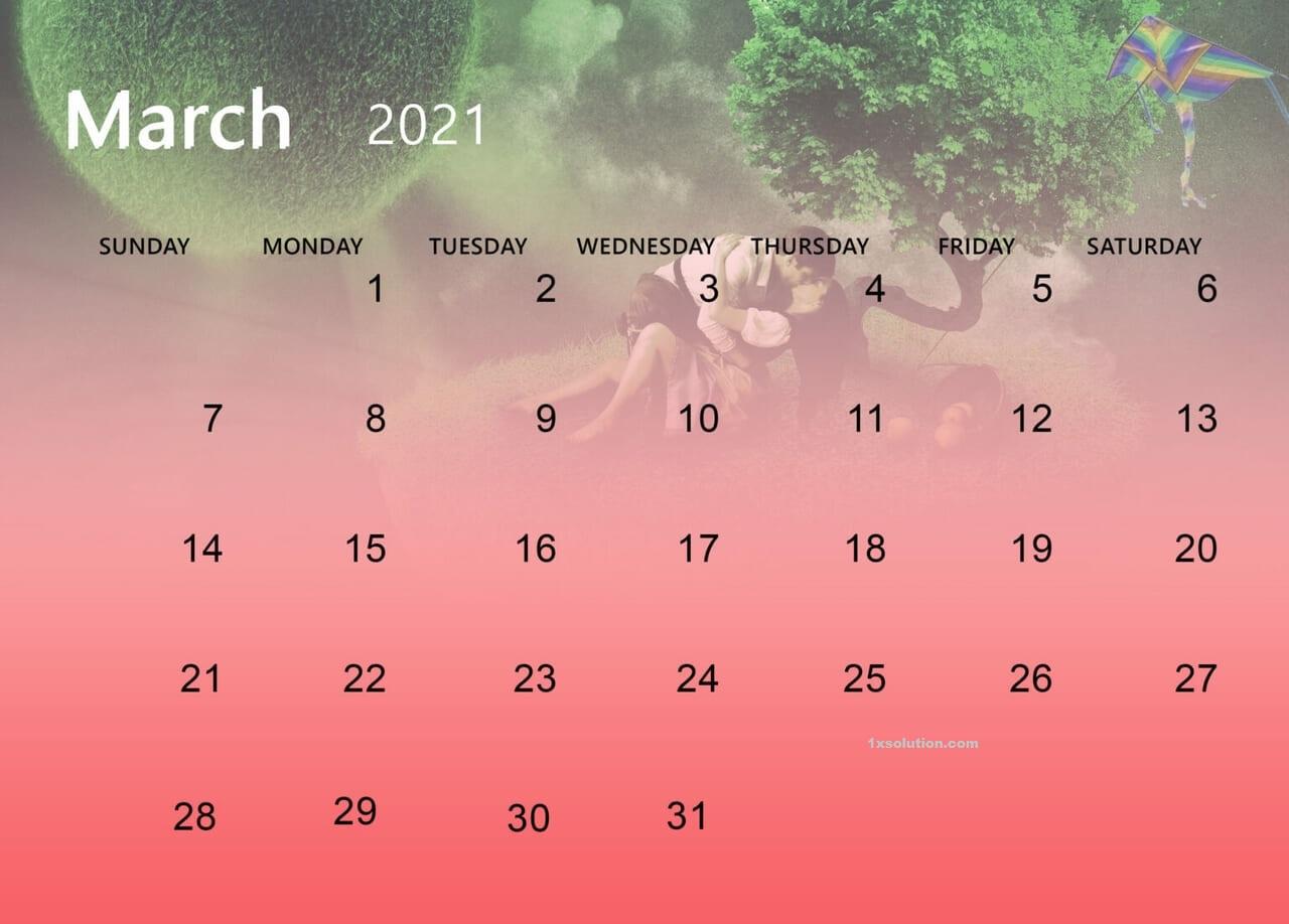 March 2021 Cute Calendar