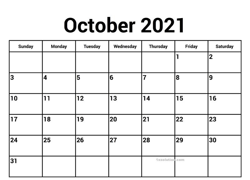 October 2021 Calendar Online PDF