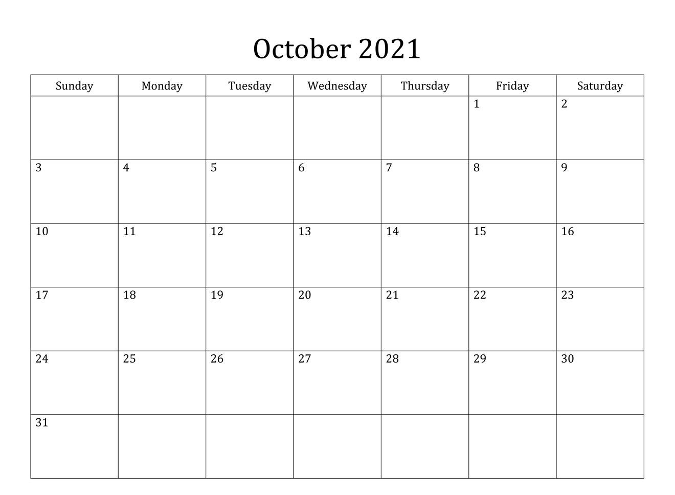 October 2021 Calendar PDF