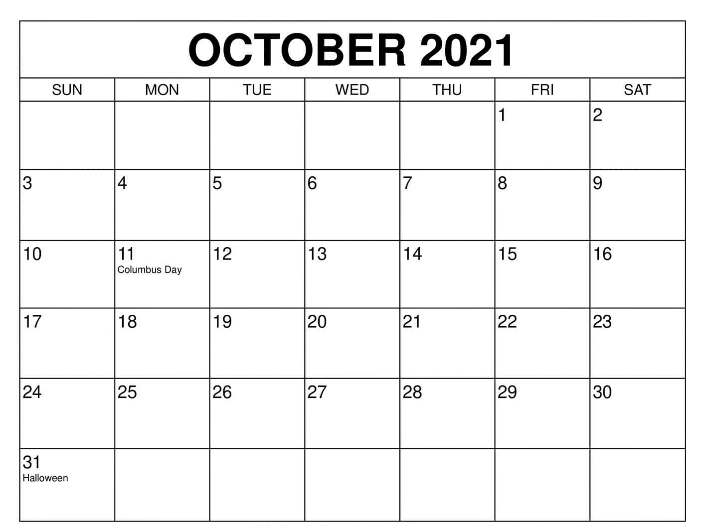 October 2021 Calendar with Holidays