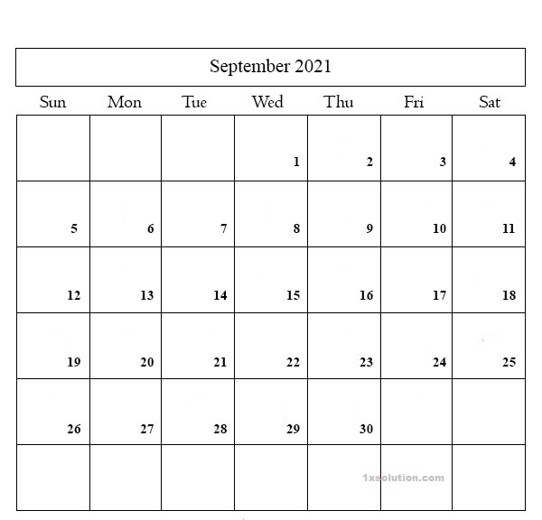 September 2021 Calendar Editable