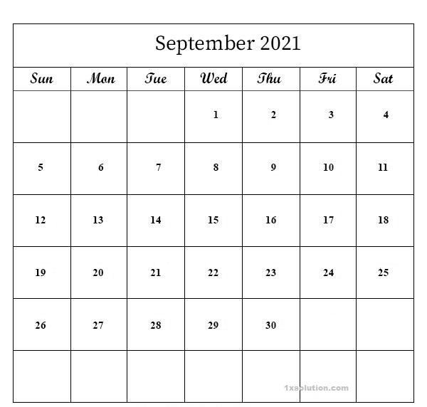 September 2021 Calendar School