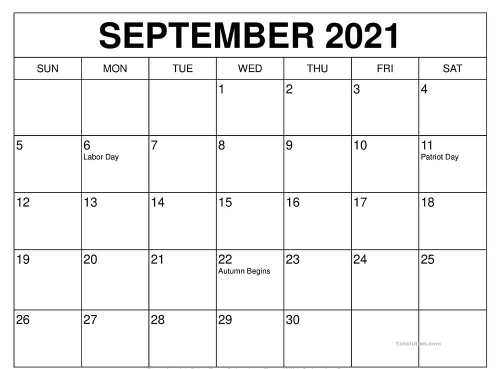 September 2021 Calendar USA