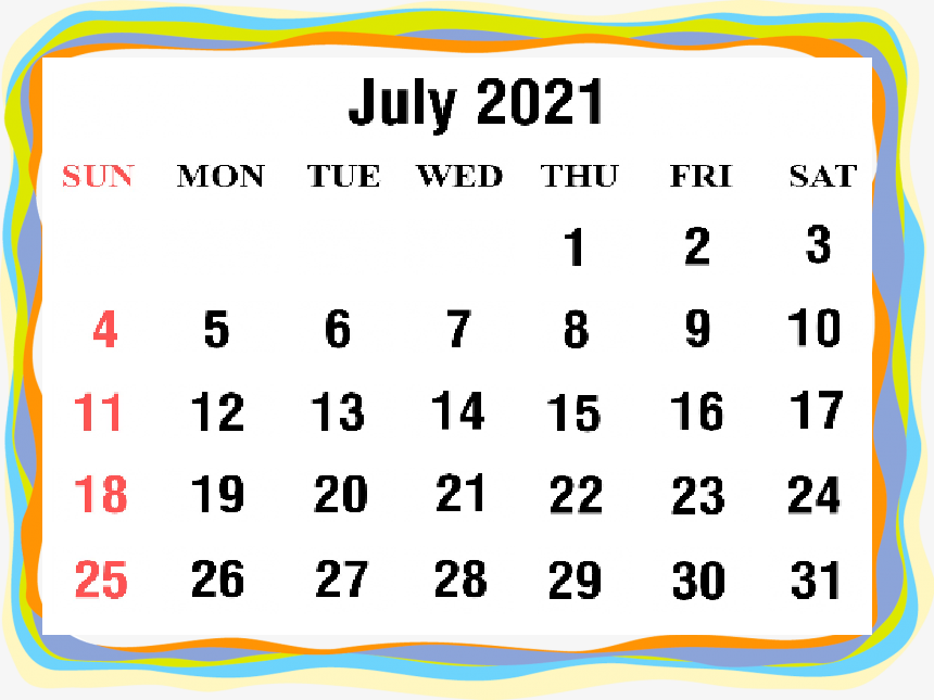 Cute July 2021 Calendar Daily