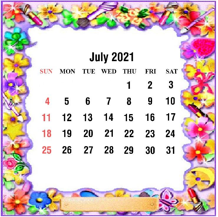 Cute July 2021 Calendar For children
